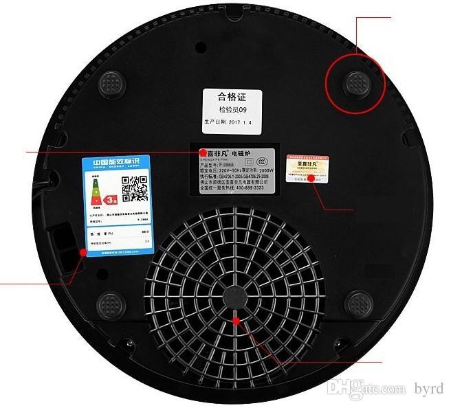 288mm Hotpot Restaurant kommerzieller Rundinduktionsherd mit Stahlring eingebettet Desktop-Dual-Use-Touch-Schalter 220V 2000W eingebettet