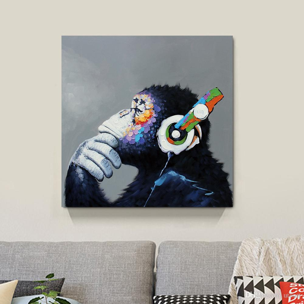 2017 Thinking Monkey Canvas Painting Home Decor Canvas Wall Art