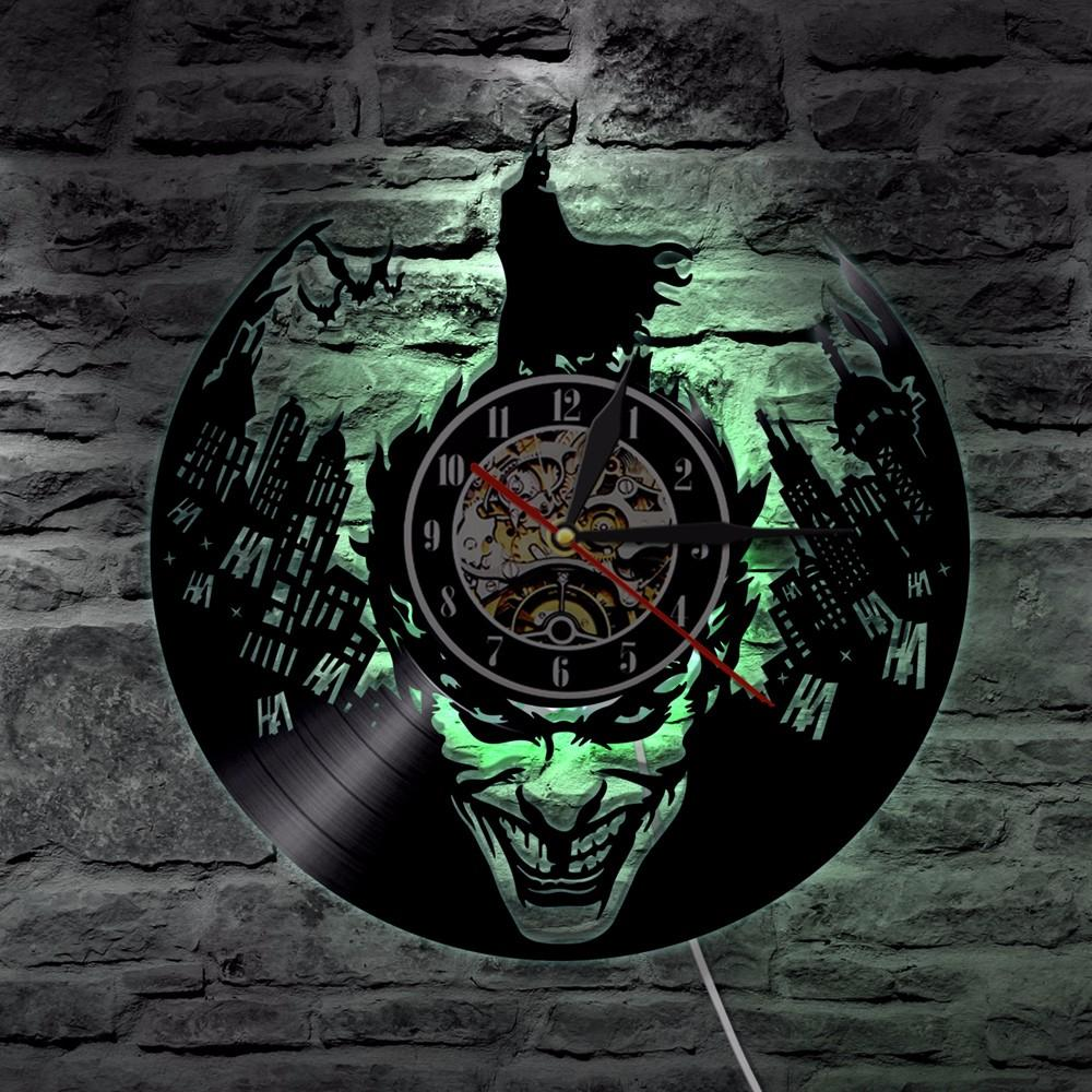 Black vinyl record wall lamp decorative led lights led lighting with clock batman retro vinyl clock art wall holiday lighting designer clocks designer