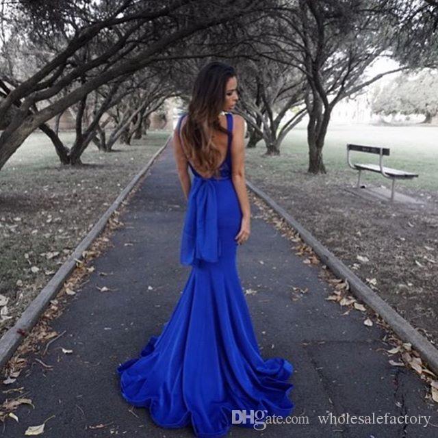 2017 nova sexy sereia drapeado varrer trem vestidos de noite elegante jóia neck backless cetim longo formal vestidos de festa robe de soriee