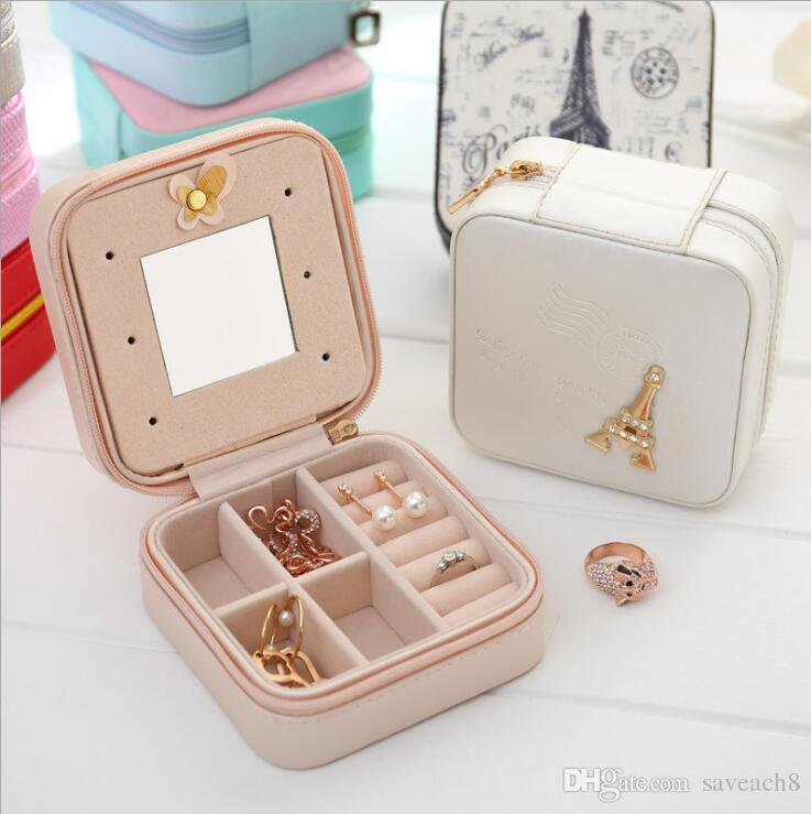 Jewelry Boxes for WomenTravel Jewelry Organizer Portable PU Leather