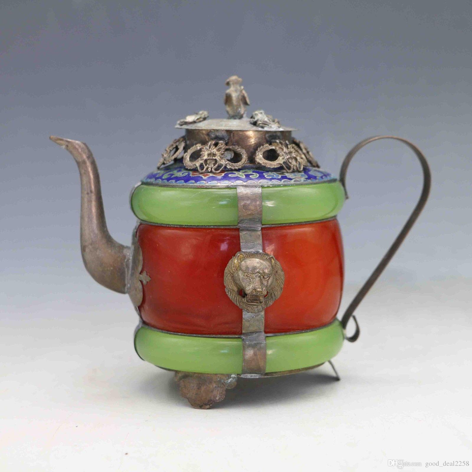 Collezione Decorazione Cinese naturale giada Armatura Drago ione Tibet Argento Lavoro manuale Teiera Scimmia coperchio