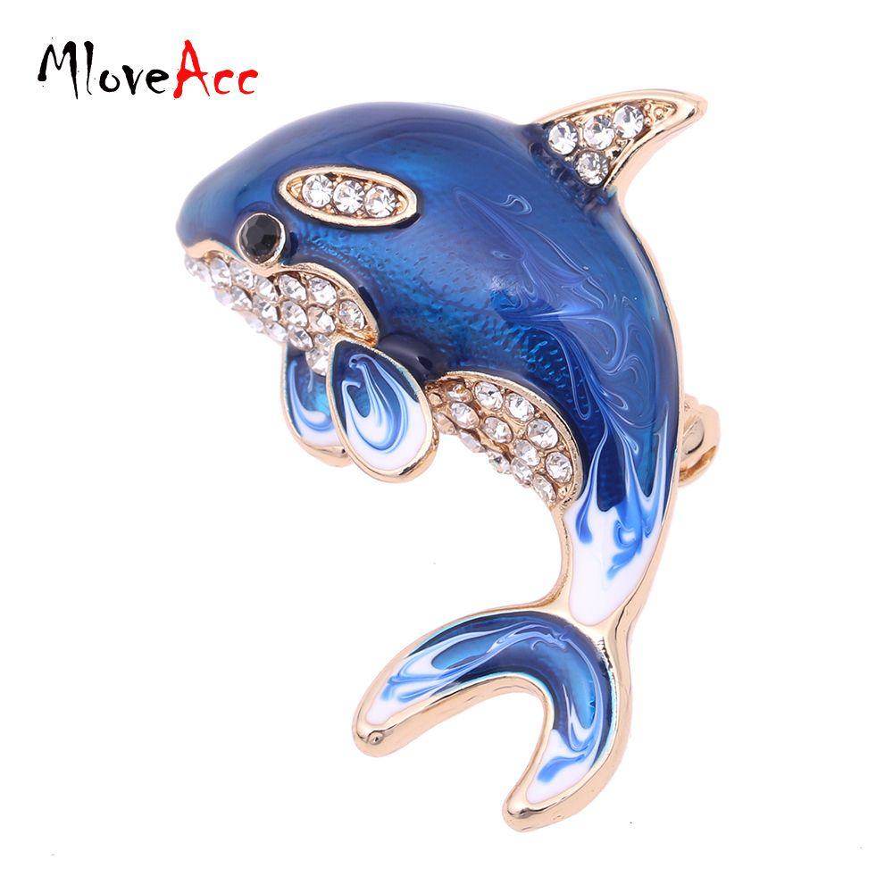 2019 Wholesale MloveAcc Fashion Jewelry Blue Enamel Crystal Dolphin ... ffffec3819df