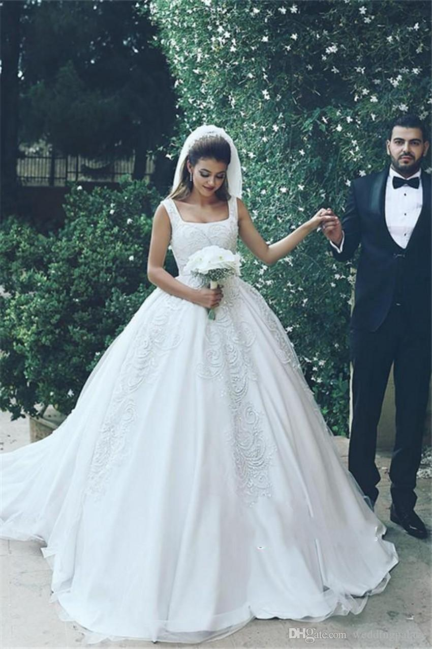 Discount Luxurious Boat Neck Arabic A Line Wedding Dresses Cathedral ...