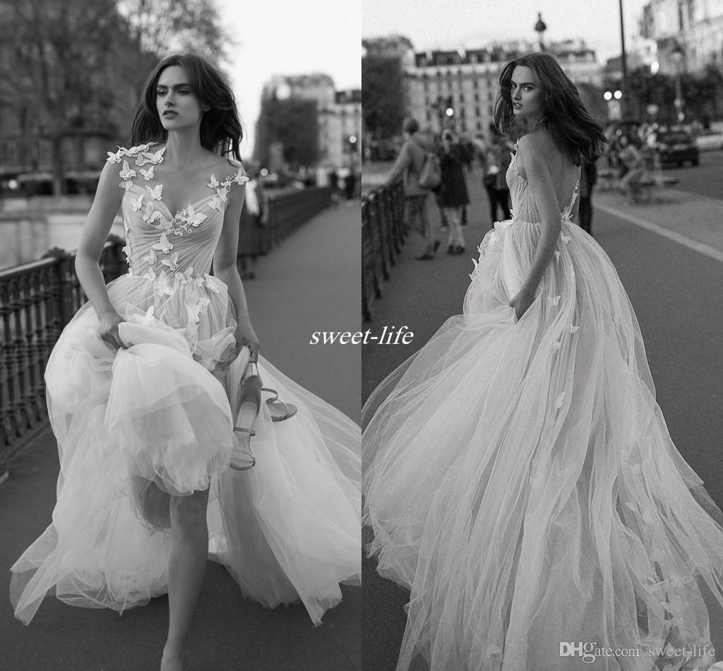 Lliz Martinez 2018 Summer Wedding Dresses with 3D Floral Tulle Backless  Sexy Sheer Runaway Bride Country Beach Bohemia Bridal Wedding Gowns