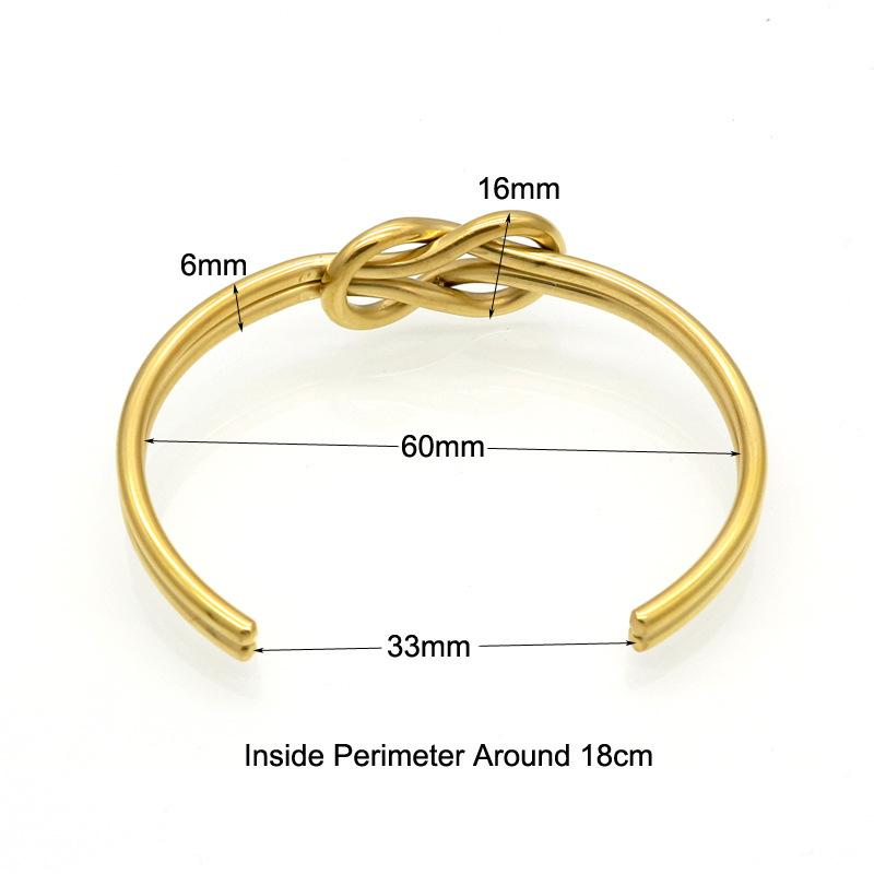 Moda de acero inoxidable 316L joyería nudo brazaletes de apertura brazalete de las mujeres para damas accesorios regalos oro plata