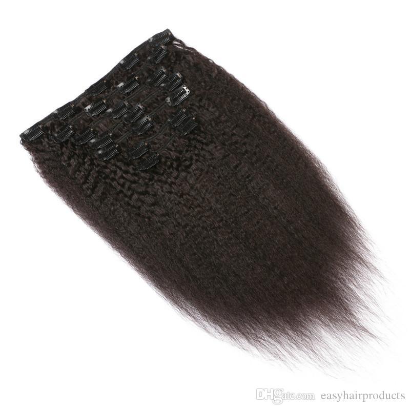 MONGOLIAN Kinky Straight Clip Human Hair Extensions Virgin Menschliches Clip in Haarverlängerungen G-Easy