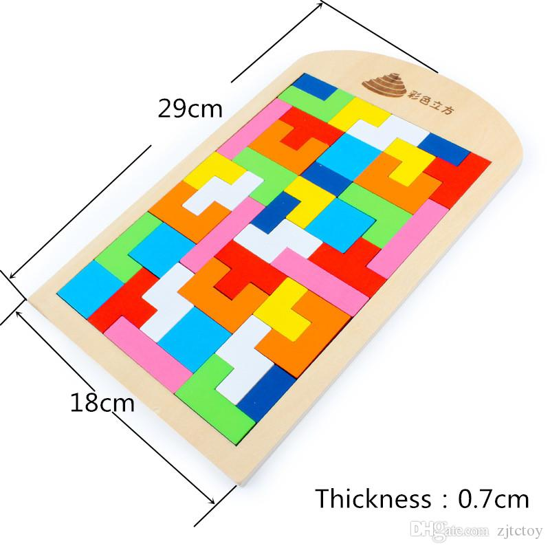 Wooden Russian Tetris Puzzle Jigsaw Intellectual Building Blocks and Training Toy for Early Education Baby Kids Wood Toys Children Gift