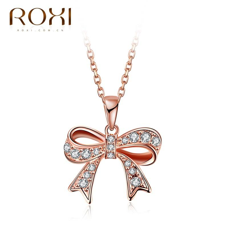 Wholesale roxi 2017 new fashion design little girl collection rose wholesale roxi 2017 new fashion design little girl collection rose gold austrian crystal bow pendant golden shinny necklace silver pendant necklace gold aloadofball Images