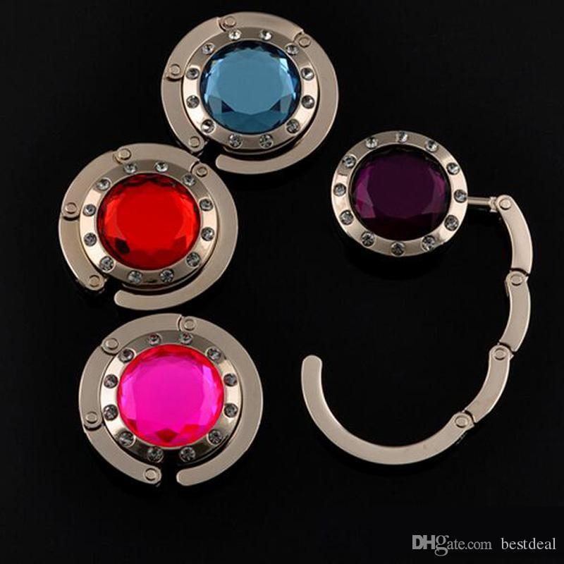 Folding Hook Bag Hänghållare Vikbar för handväskor Väskan Väskor Tillbehör med rhinestone Purse med 12 Crystal Diamond 14 Färger