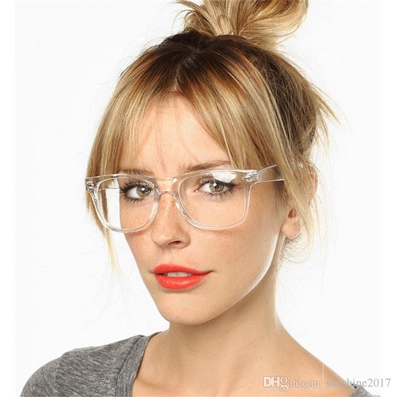 Şeffaf Kristal Şeffaf Çerçeve kare Lens gözlük asetat gözlük çerçeve şeffaf gözlük lens kadın gözlük retro gözlük çerçeve
