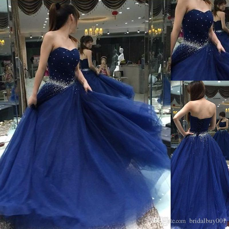 Navy Blue Quinceanera Dresses 2017 Sweetheart Beaded Lace Up Sweet 16 Gowns Tulle Ball Gown ...