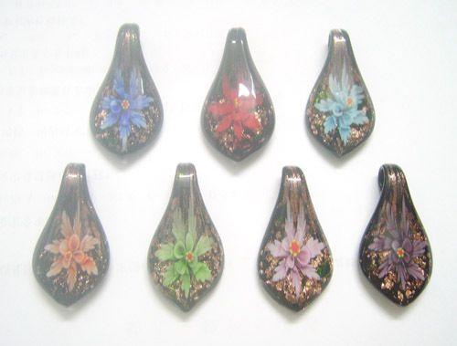 10 stks / partij Multicolor Murano Lampwork Glas Hangers Voor DIY Craft Mode-sieraden Gift Mix Kleuren PG9