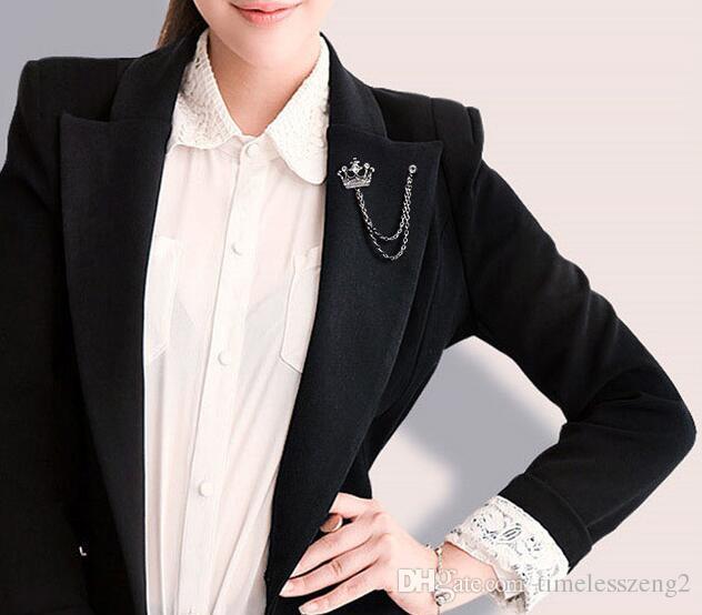 Europa e EUA restaurar antigas formas de crachá coroa cruz broche de terno pin broches de diamante sintético de alta qualidade