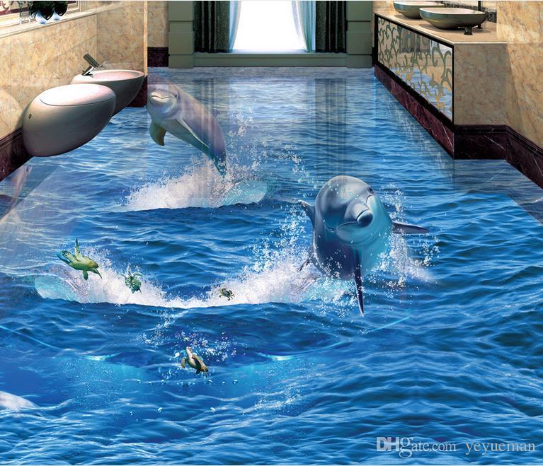 3d flooring custom pvc self adhesive wallpaper the dolphin - Costo water bagno ...
