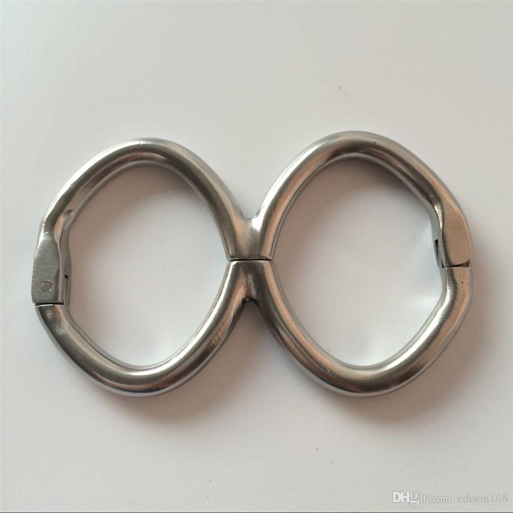 Latest Male Female Stainless Steel Gourd Shape Fixed Oval Wrist Restraint Handcuffs Shackles Bondage Manacle Adult BDSM Product Sex Toy