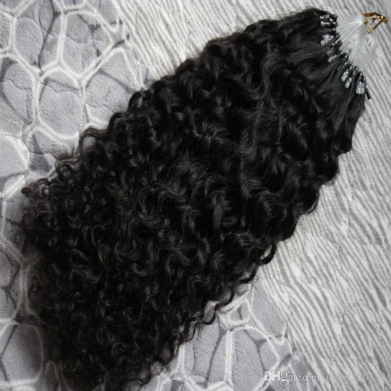 인간의 머리 확장 아프리카 곱슬 곱슬 7a 마이크로 루프 브라질 확장 100 그램 브라질 곱슬 곱슬 마이크로 구슬 머리 확장 100 초