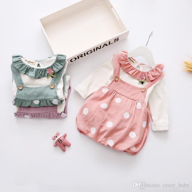 Yenidoğan Çocuklar Bebek Kız Giysileri Ekose Kayışı Fırfır Etekler Yuvarlak Boyun Uzun Kollu Katı Gömlek 2 adet Toddler Güzel Kıyafetler