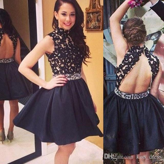 High Neck Black Short Homecoming Dresses 2019 Above Knee Length A-Line Beads Sash Backless Lace Junior Graduation Cocktail Prom Gowns H55