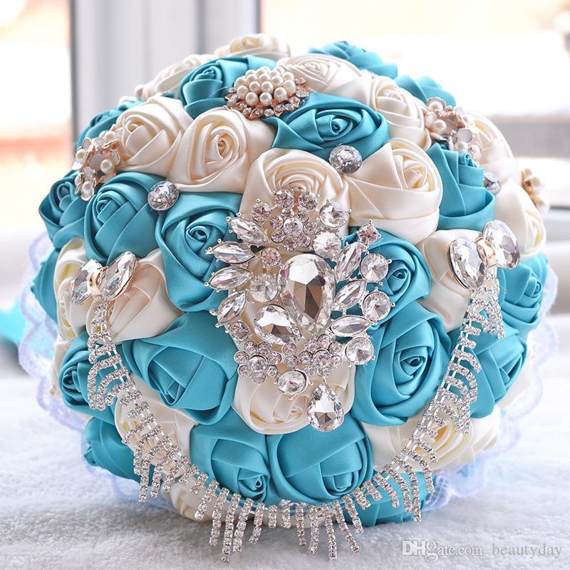 결혼식 신부 꽃다발 수제 꽃 Peals 크리스탈 라인 석 장미 결혼식 용품 브로치를 들고 신부 결혼식 꽃