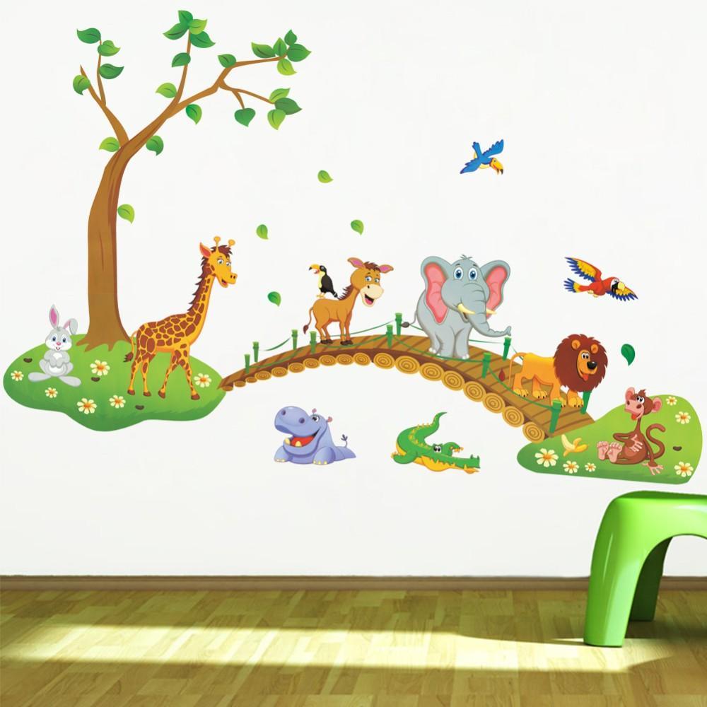 Cartoon Jungle Wild Animal Tree Bridge Lion Giraffe Elephant Birds Flowers Wall  Stickers For Kids Room Living Room Home Decor Wall Decor Love Wall Stickers  ...