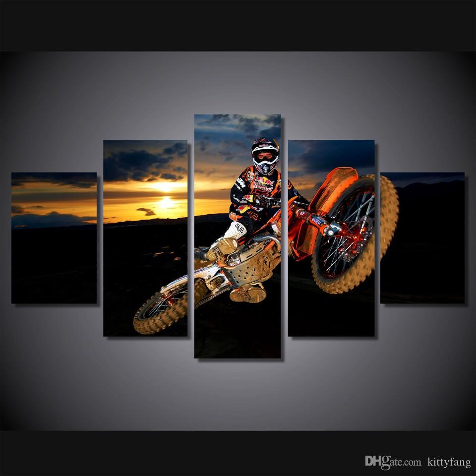 2018 framed hd printed best action motocross sports wall art print