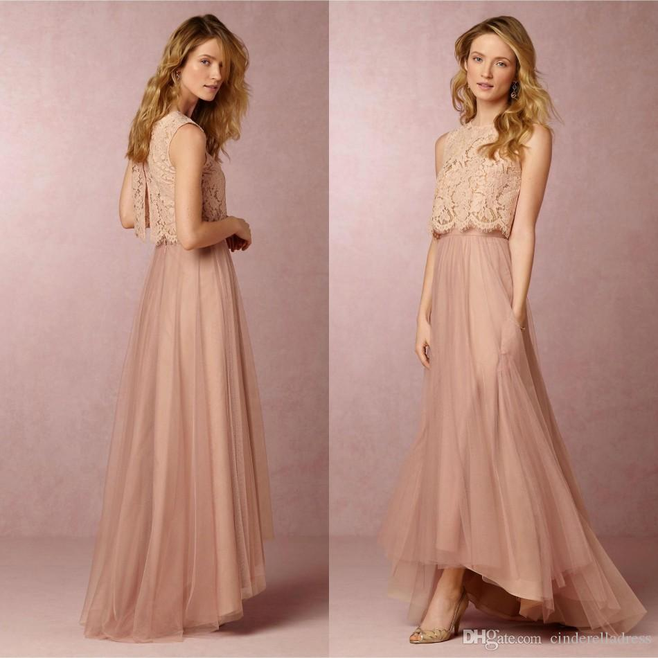 2017 Blush Pink Two Pieces Hi-Lo Bridesmaid Dresses Jewel A Line Soft Tulle Lace Top Open Back Maid Of Honor Party GOwns BA2930