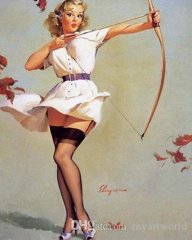 Framed GIL ELVGREN Sexy Archer,Pure Handpainted Pinup Girl Art Oil Painting On Quality Canvas Multi Sizes Free Shipping Pin010