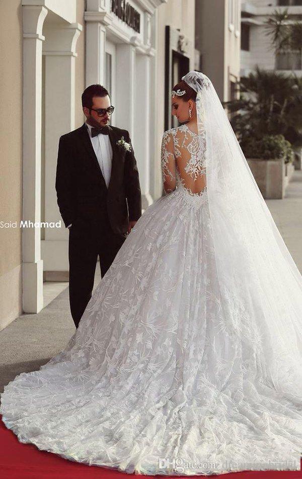 Plus Size Arabisch Brautkleider Lange Ärmel 2017 Sexy Sheer Neck Tüll Eine Linie Brautkleider Illusion Günstige Brautkleider