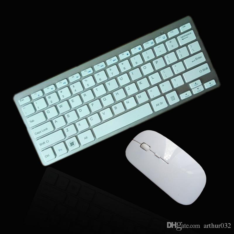 Clavier sans fil 2.4G anglais très fin au chocolat sans fil Combos de souris pour Apple Style Mac Fenêtre PC XP / 7/8/10 Boîte de télévision intelligente