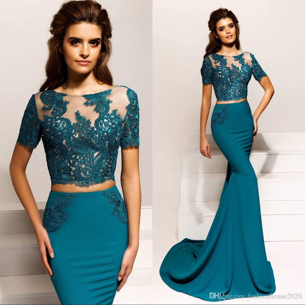Elegant Two Piece Mermaid Prom Dresses With Open Back Short ...