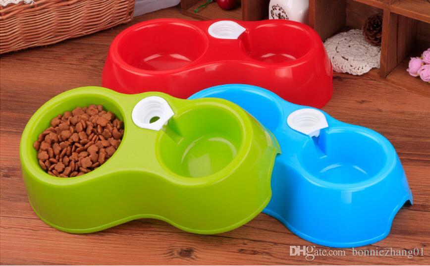 50 adet Sıcak Satış Çift Bağlantı Noktası Köpek Otomatik Su Dağıtıcı Besleyici Eşyaları Kase Kedi Içme Çeşmesi Gıda Bulaşık Pet Kase