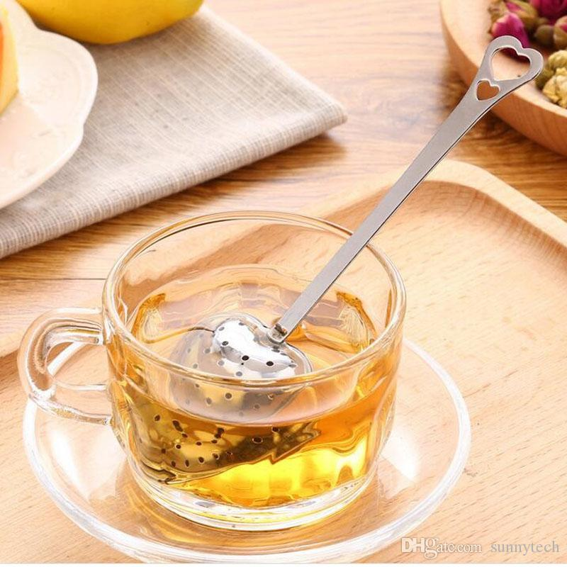 Love Heart Shape Style Stainless Steel Tea Infuser Teaspoon Strainer Spoon Handle Shower Tea Filter Gifts Favors ZA1386