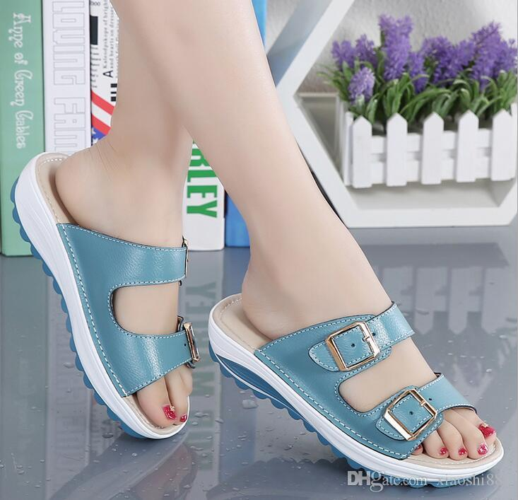 2019 femmes d'été sandales plates Chaussures pantoufles de loisirs sandales confortables tête de poisson tongs chaussures de femmes