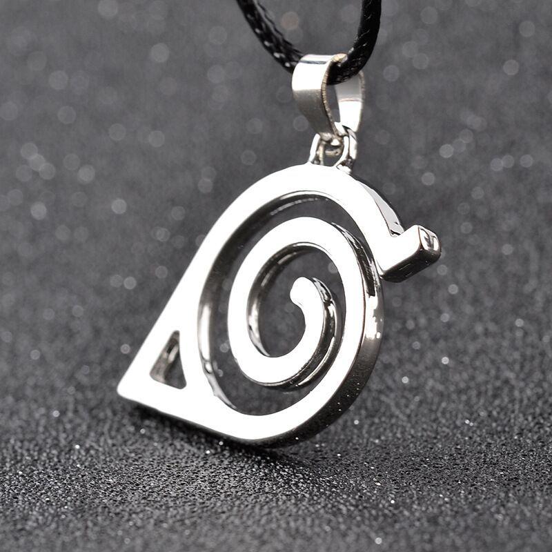 Legierung Kinder Anime Cartoon Naruto Halskette Das Blatt kann Logo Marke Abzeichen Wirbel Helix Wirbel Anhänger rot Spiral Helical Linie Halskette x367