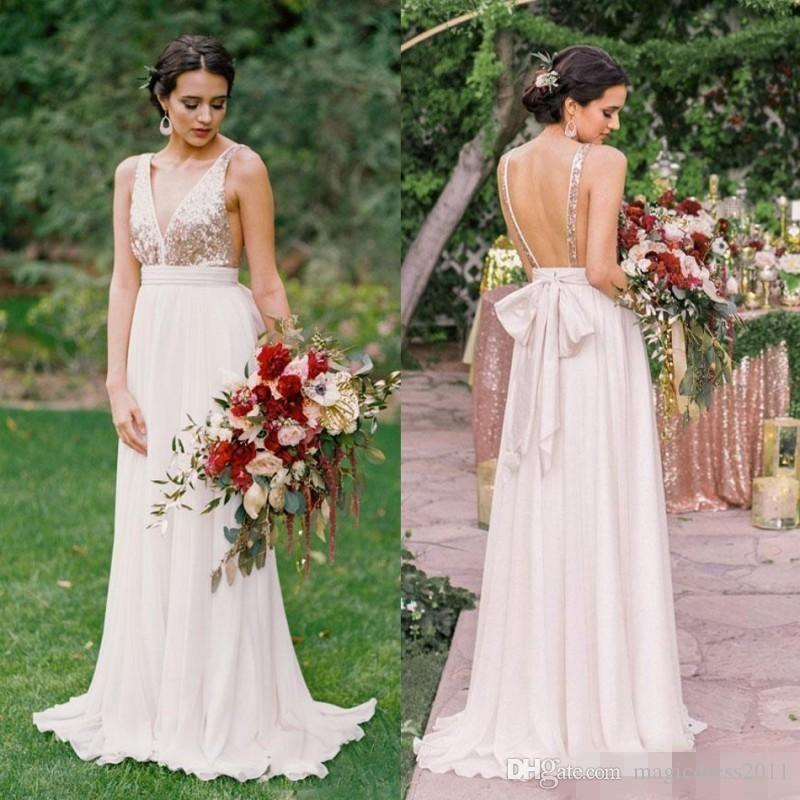 2017 modern rose gold bridesmaid dresses a line deep v neck backless 2017 modern rose gold bridesmaid dresses a line deep v neck backless sequins chiffon cheap long beach wedding gust dress maid of honor gowns romantic junglespirit Image collections