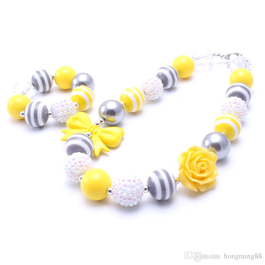 MHS.SUN Yellow Color Bow Necklace&Bracelet Headband Set Birthday Party Gift Toddlers Girls Bubblegum Baby Kid Chunky Necklace Jewelry