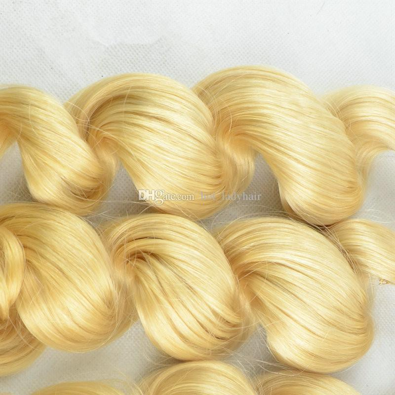 Platinum Blonde Loose Wave Virgin Peruvian Human Hair Weaves Pure #613 Blonde Human Hair Bundles Loose Wavy Extensions