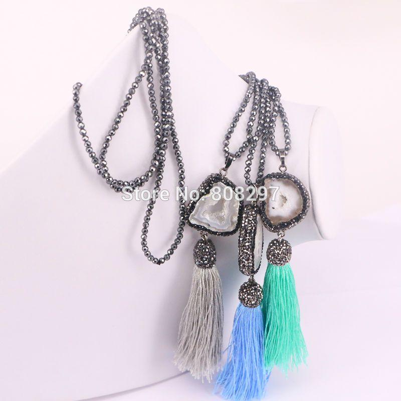 Black hematite beads necklace Pave rhinestone Nature Druzy Geode Stone with Tassel Charms Pendants