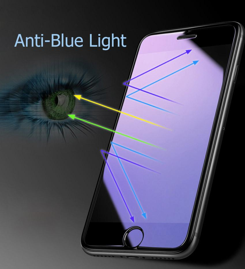Anti Blue Light Tempered Glass For Iphone 8 7 6 6s Plus 5 5s 25d 9h Temperglass Hd Screen Protector Eye Protect Ray Filter Guard Film