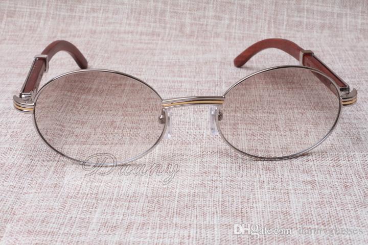 Lunettes de soleil rondes Cornet de bétail Eyeglasses 7550178 Wood Hommes et femmes Sunglasses Lunettes de soleil Glasess Lunettes Taille: 55-22-135mm