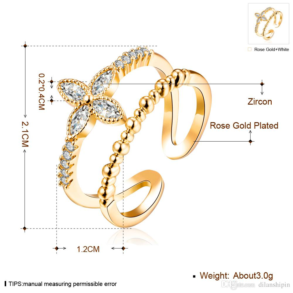 Adjustable Rings For Women Girls Pave setting Cubic Zirconia Fashion Wedding Bridal Engagement Flower Cuff Finger Ring Jewelry Wholesale