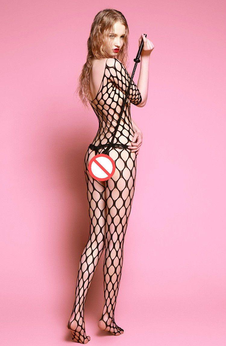 Chaude Sans Soudure Grand Diamant Net À Manches Longues Bodystocking Crotchless Résille Corps Stockage Sheer Body Costume Erotique Sexy Lingerie