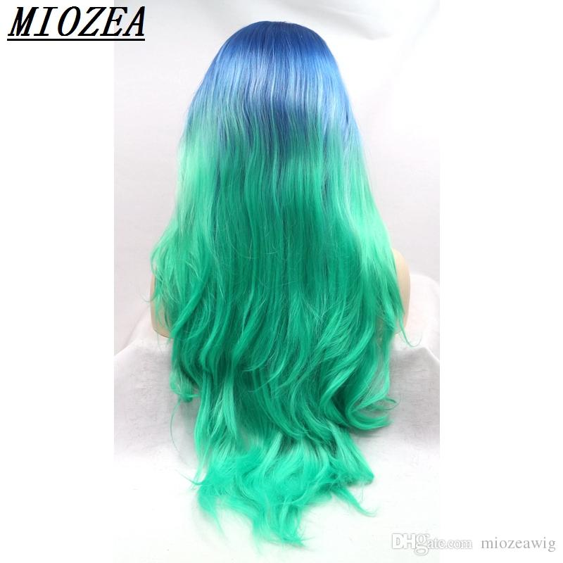 hair 26inch Two Tone blue ombre green long wavy wigs synthetic lace front wig heat resistant