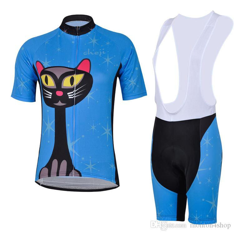 2019 Frauen Blue Cat Radtrikot 19D Pad Bike Shorts Set Ropa Ciclismo mehr atmungsaktive Frauen Sommer Radsportbekleidung