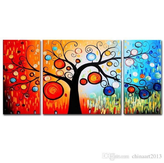 100% El-Boyalı Yağlıboyalar Panelleri Gerilmiş Çerçeveli Hazır Asmak Renkli Ağacı Flora Yüzük Daire Oturma Odası Duvar Sanatı Ev Dekorasyon