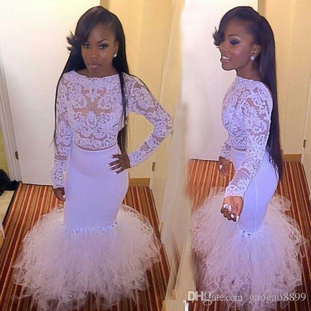 2017 Uzun Kollu Dantel Beyaz Mermaid Gelinlik Modelleri Afrika vestidos de baile Boncuklu Aplikler Akşam Örgün Törenlerinde See Through