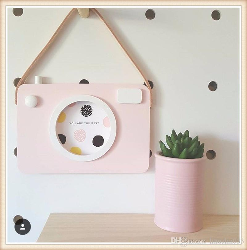INS Wooden Camera Photo Frame Cute Cartoon Baby Party Photography Props Children's Room Decoration Figurines Birthday Gift