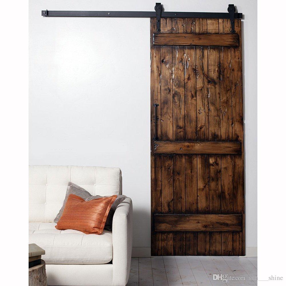 2018 75ft Black Steel Interior Sliding Barn Door Hardware For
