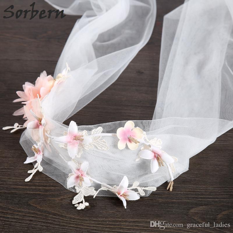 Sorbern Romantische Brautschleier Große Mesh-Blumen-Spitze-Schleier-Stirnband-Haarband-Blumengirlande-Hochzeits-Strand-Art-Hochzeits-Zusätze